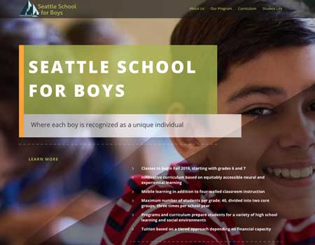 Seattle School for Boys Logo & Website